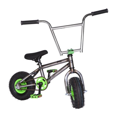 "Kobe ""Rusty Rat Rod"" Mini BMX - Off-Road to Skate Park, Freestyle, Trick, Stunt Bicycle 10"" Wheels for Adults and Kids - Green - image 1 de 12"