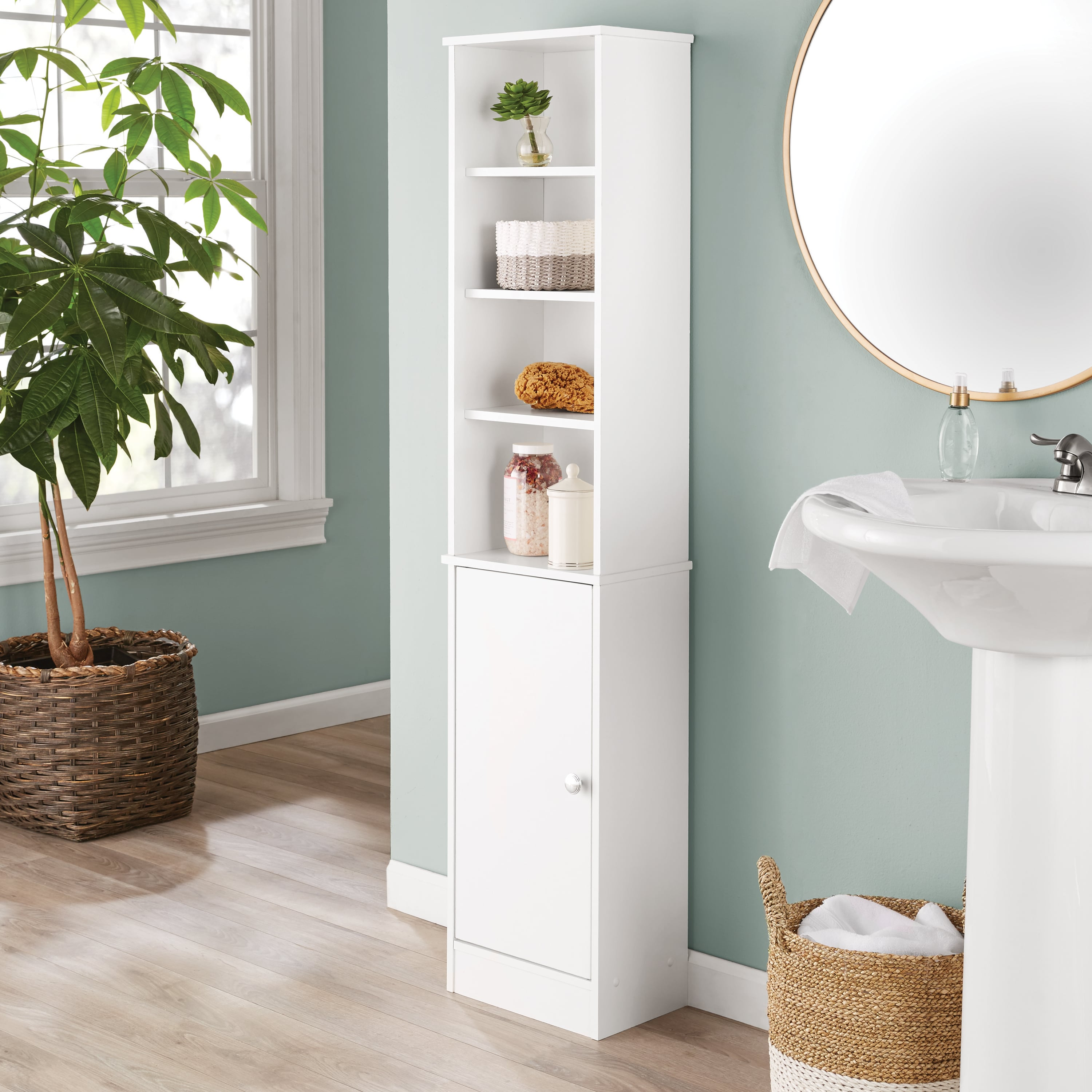 Mainstays Bathroom Storage Linen Tower With Concealed Storage And Four Fixed Shelves White Walmart Com Walmart Com