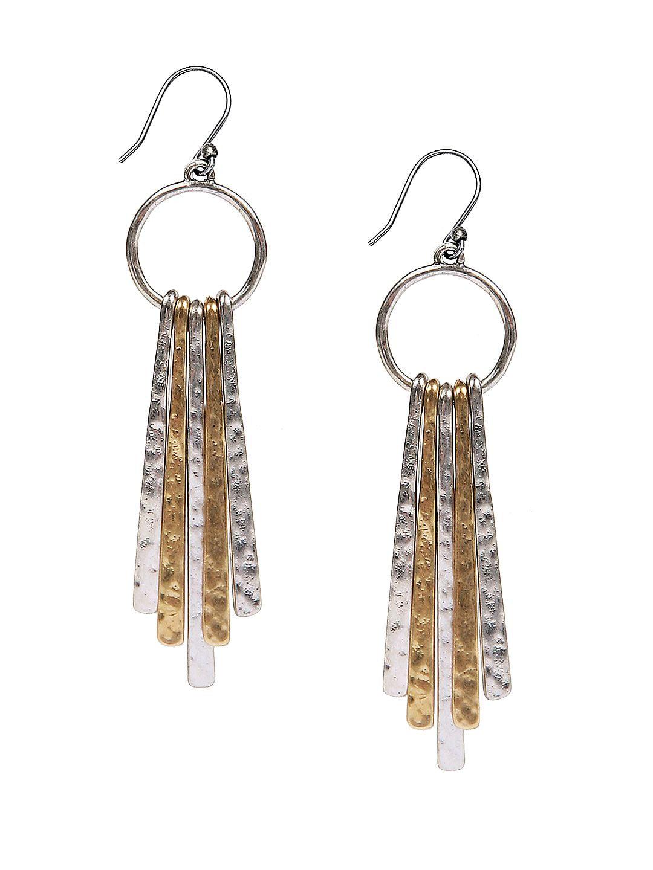 Two-Tone Paddle Drop Earrings