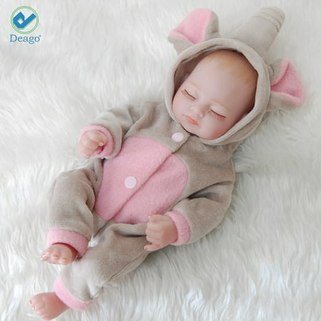 "Deago Reborn Newborn Baby Realike Doll Handmade Lifelike Silicone Vinyl Weighted Alive Lovely Cute Doll Gifts 11"" (Girl)"