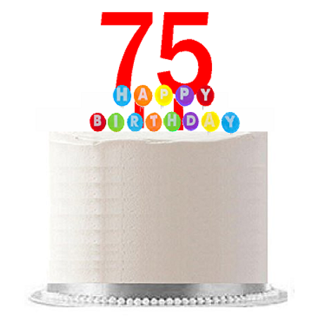 Item#075WCD - Happy 75th Birthday Party Red Cake Topper & Rainbow Candle Stand Elegant Cake Decoration Topper Kit