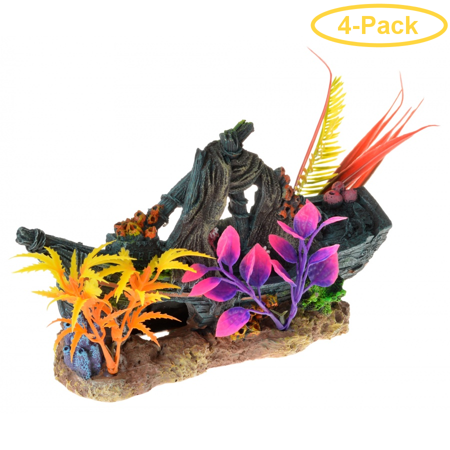 Exotic Environments Sunken Ship Floral Ornament 1 Count - Pack of 4