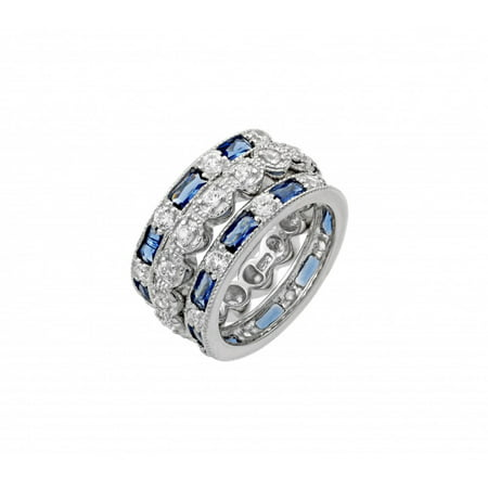 Blue Baquette And Round Clear Cubic Zirconia Three Designer Stackable Bands Ring Sterling Silver Size 5