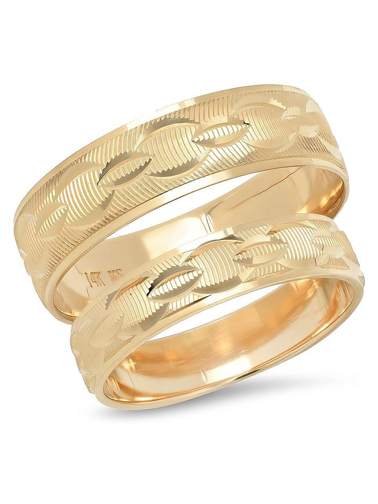 His and Hers 14K Solid Yellow Gold Chain Link Design Mens Womens Wedding Band Ring Set