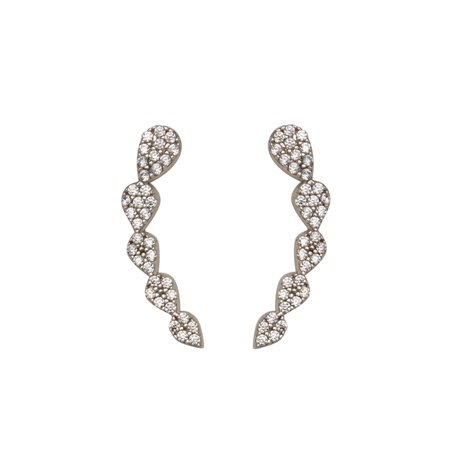 Ear Climber Earrings Pear Shape Pave Cubic Zirconia Rhodium on Sterling Silver