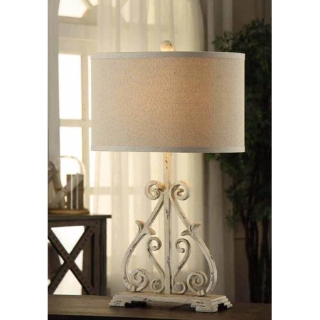Dunbar Antique White Finish Table Lamp 28 Inches Tall Natural Linen Shade