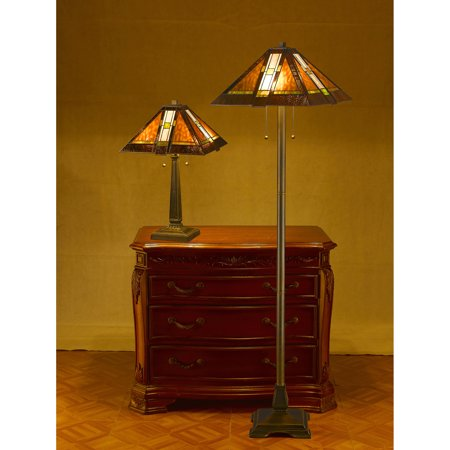 Serena d'italia Mission Table and Floor Lamp Set, Brown
