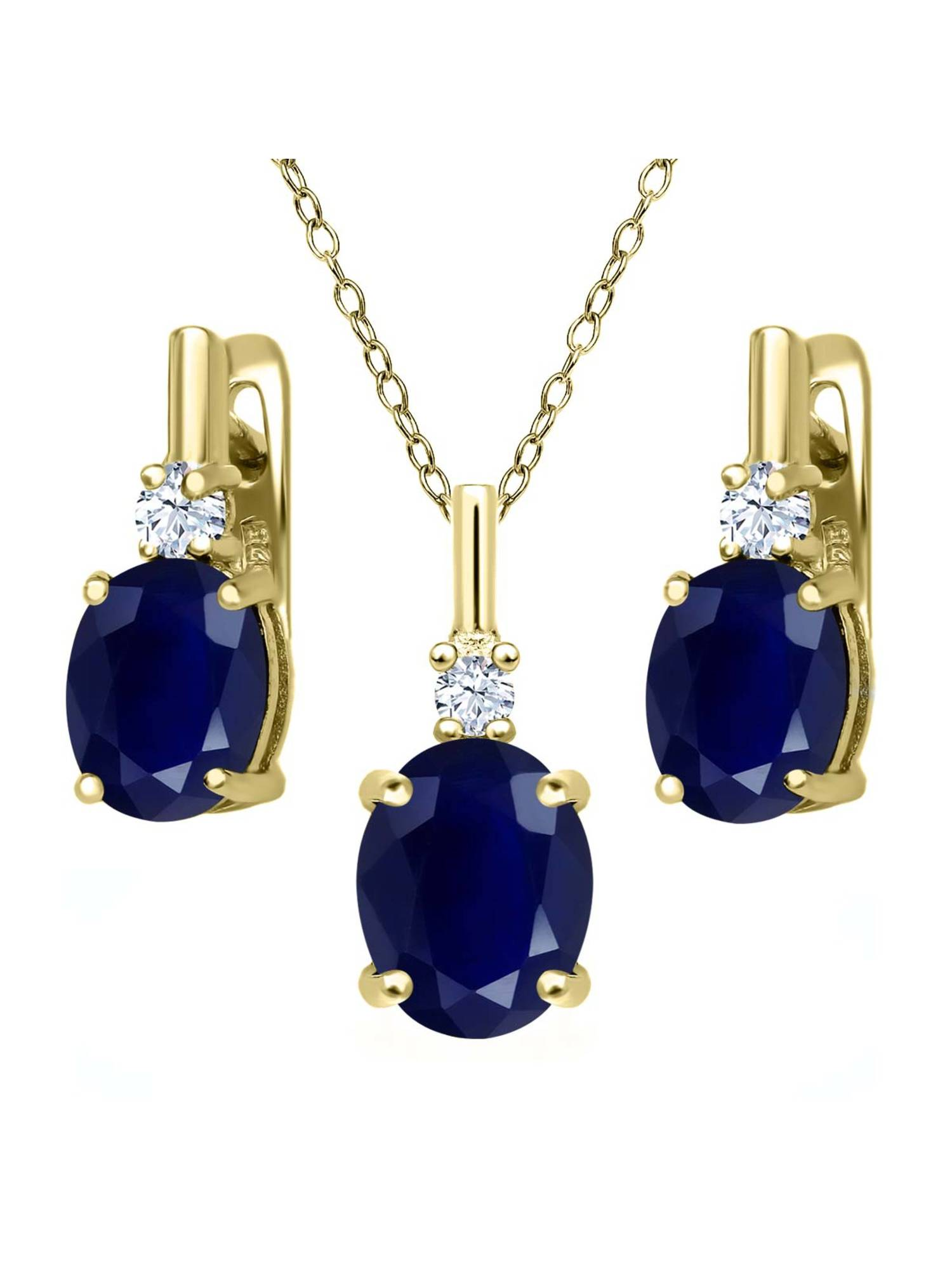 7.58 Ct Blue Sapphire White Topaz 18K Yellow Gold Plated Silver Pendant Earrings Set by