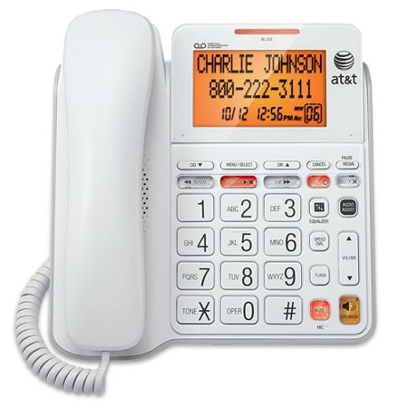 - AT&T CL4940 Corded Standard Phone with Answering System and Backlit Display, White