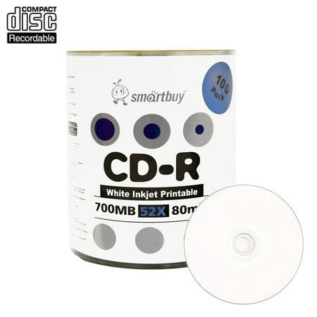 100 Pack Smartbuy 52X CD-R 700MB 80Min White Inkjet Hub Printable Data Blank Media Recordable Disc