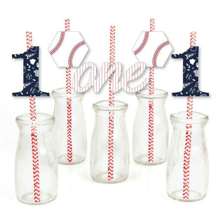 1st Birthday Batter Up - Baseball - Paper Straw Decor - First Birthday Party Striped Decorative Straws - Set of 24 - Baseball Birthday