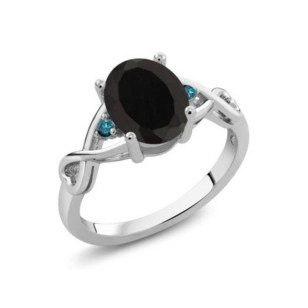 2.06 Ct Oval Black Onyx Blue Diamond 925 Sterling Silver Ring