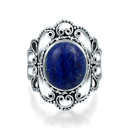 Bali Style Filigree Round Boho Statement Blue Lapis Lazuli Ring For Women For Teen 925 Sterling Silver