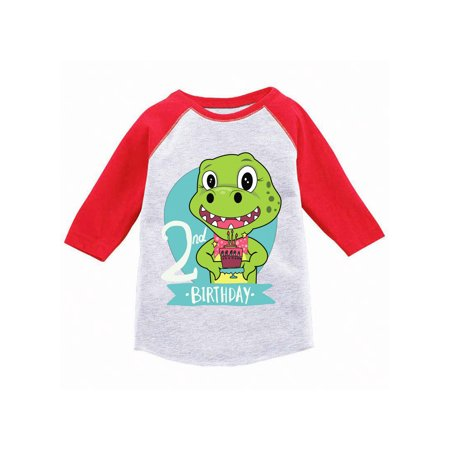 Awkward Styles Dinosaur Birthday Toddler Raglan Jersey Shirt For 2 Year Old 2nd Gifts Boy Baseball Girl T