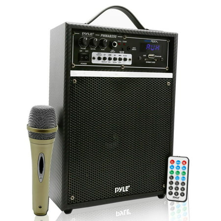 PYLE PWMAB250BK - 300 Watt Bluetooth 6.5'' Portable PA Speaker System with Built-in Rechargeable Battery, Wired Microphone & FM Radio ()