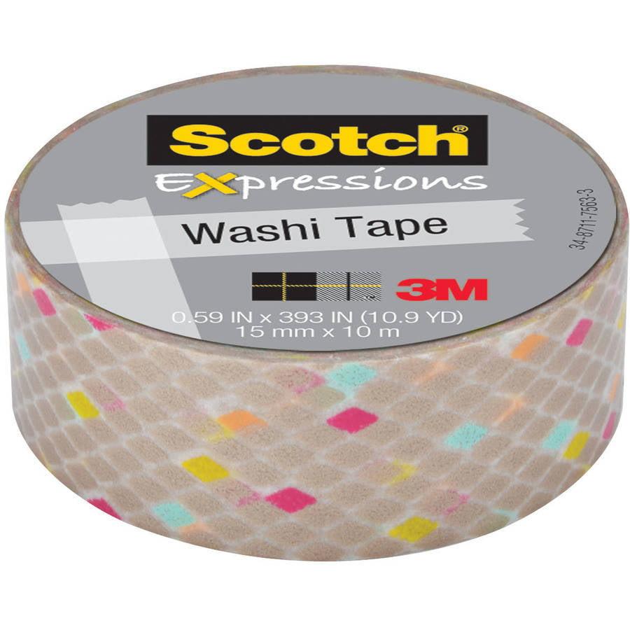"Scotch Expressions Washi Tape, .59"" x 393"", Gold Diamonds"