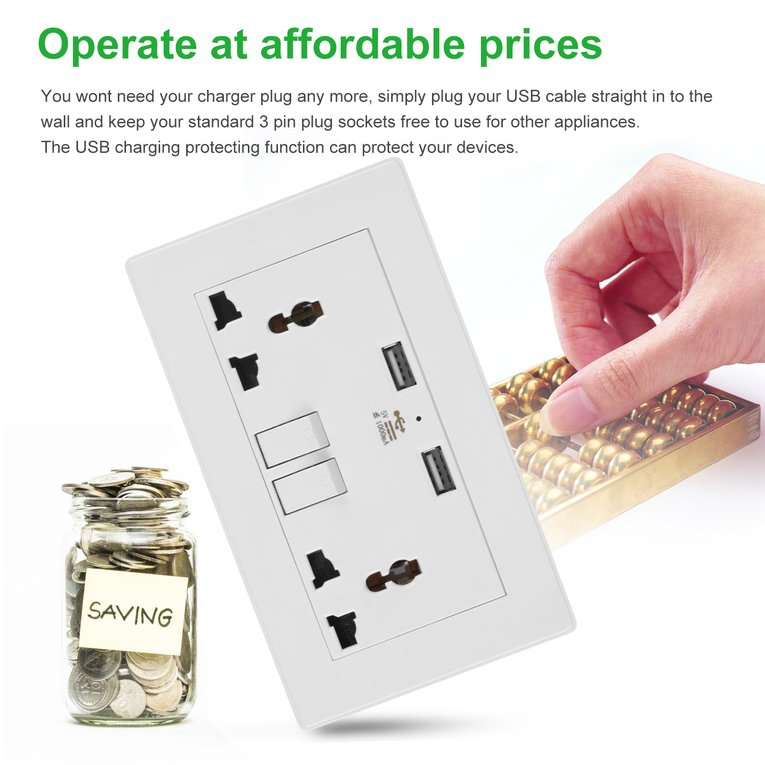 Switch Socket 2 Gang 1000Ma Wall Socket Dual Usb Port Outlets Plate Panel Universal Plug