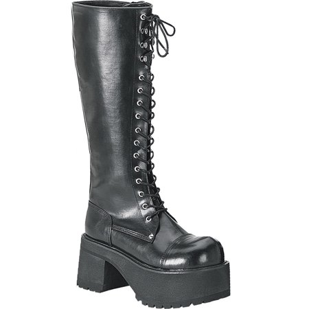3 1/2 Inch MENS SIZING Platform Knee Boots Punk Gothic Lace Up Steel Toe](Gothic Shoes And Boots)