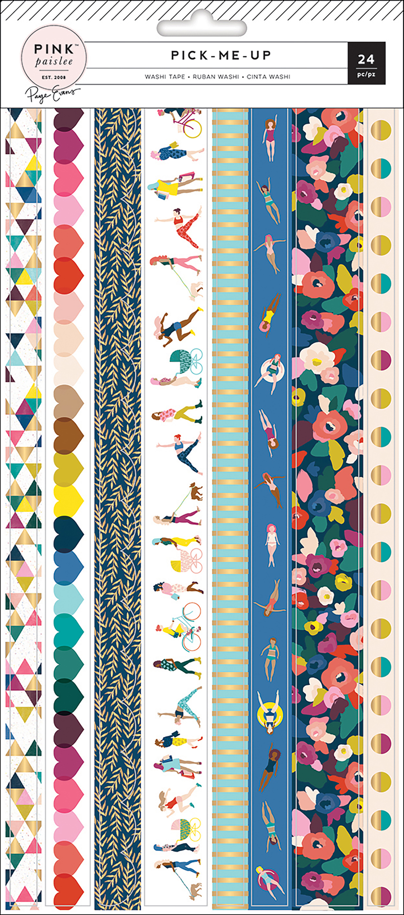Paige Evans Pick Me Up Washi Sticker Sheets 3/Pkg-Strips W/Gold Foil
