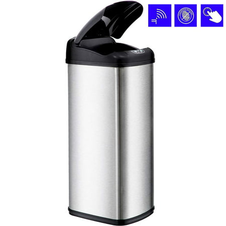 Bestoffice 13 Gallon Touch Free Sensor Automatic Stainless Steel