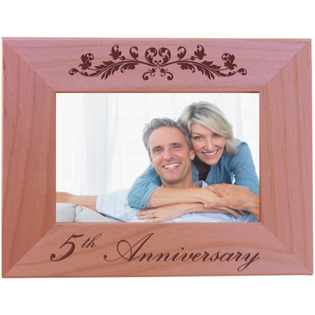 5th Anniversary - 4x6 Inch Wood Picture Frame - Great Anniversary gift for friends, parents and family