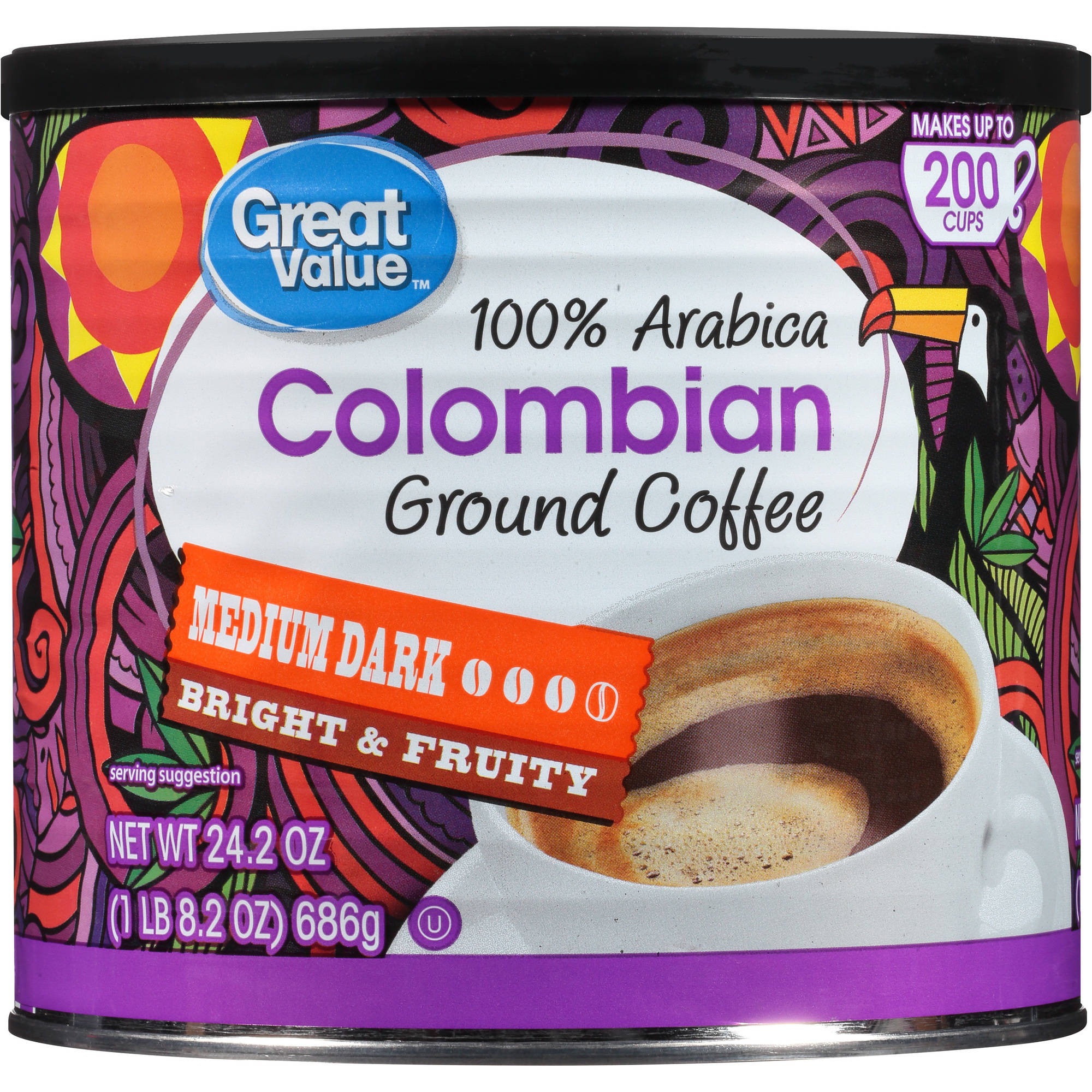 Great Value 100% Colombian Medium Ground Coffee, 24.2 oz