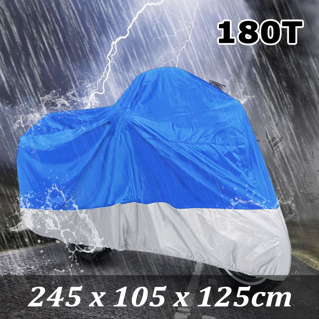 XL 180T Motorcycle Cover Rain Dust Blue+Silver Outdoor UV Protector For Harley Davidson