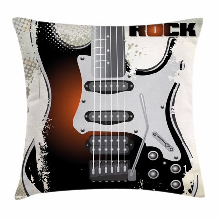 Rock Music Throw Pillow Cushion Cover, Detailed Guitar Pattern with Strings Retro Halftone Background Abstract Grunge, Decorative Square Accent Pillow Case, 18 X 18 Inches, Multicolor, by Ambesonne