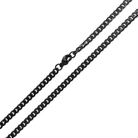 4mm Round Black Rubber Necklace - 4MM Black Stainless Steel Miami Cuban Curb Link Chain Necklace For Men For Women 18 20 24 Inch