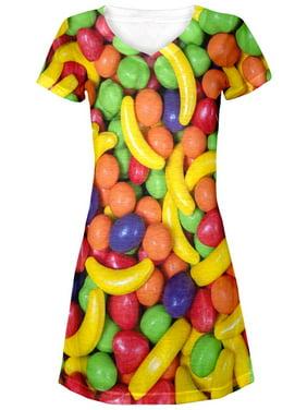 Halloween Fruit Candy All Over Juniors V-Neck Dress