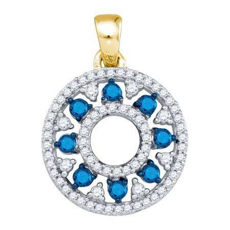10kt Yellow Gold Womens Round Blue Colored Diamond Circle Cutout Pendant 1/2 Cttw Blue Circle Pendant