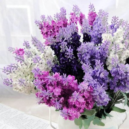 Super Simulate Lavender Bouquet Artificial Flower Home Wedding Decoration Photo Props (10 Lavenders per Bouquet) Color:Light purple