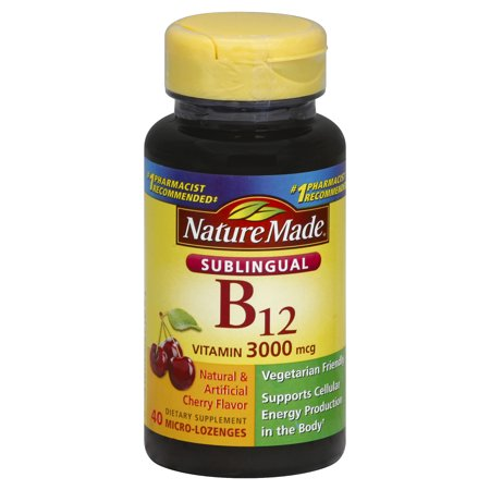 NATURE MADE Vitamin B12, Sublingual, 3000 mcg, Micro-Lozenges, Cherry Flavor, 40.0 CT