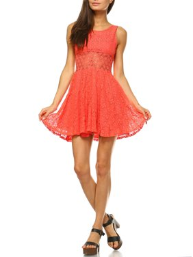 White Mark Juniors' Crochet Fit And Flare Mini Dress