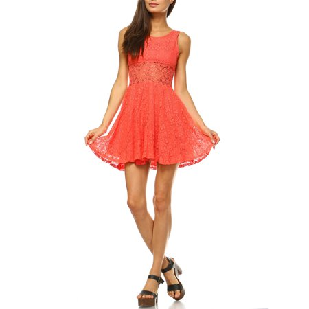 Women's Junior Crochet Fit and Flare Mini Dress (Greek Dress For Boys)