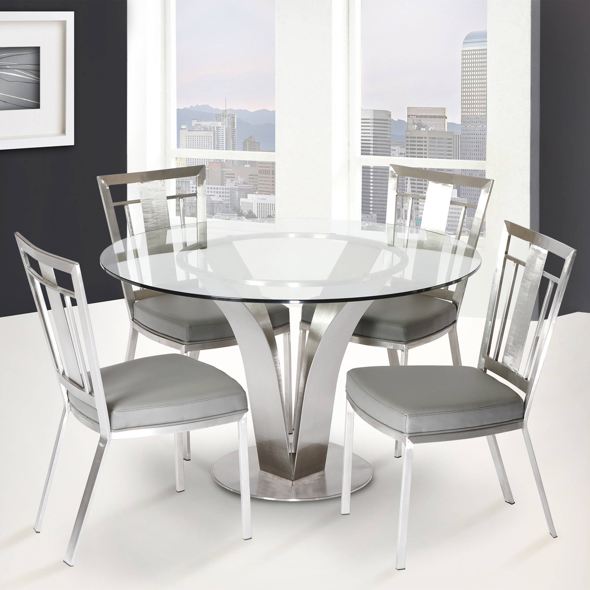 ARMEN LIVING Cleo Contemporary Dining Chair Grey and Stainless