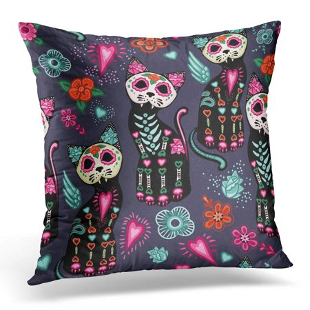 ECCOT Green Creepy Black Autumn Halloween Cats and Colorful Flowers Blue Celebration Orange Cute Pillowcase Pillow Cover Cushion Case 18x18 inch](Cute And Creepy Halloween Makeup)