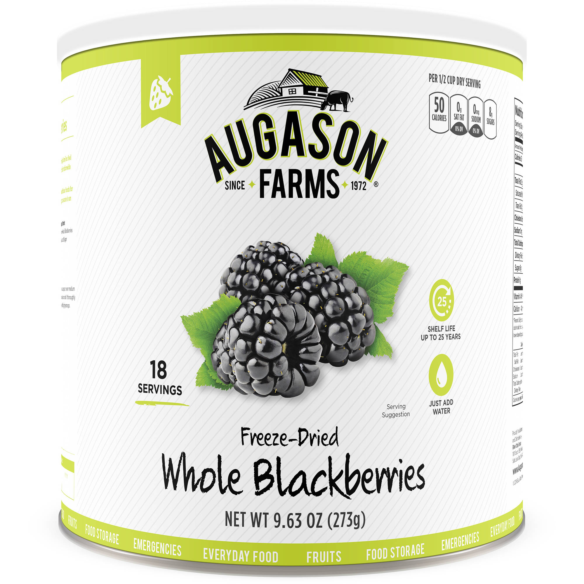 Augason Farms Freeze Dried Whole Blackberries 9.63 oz #10 Can by