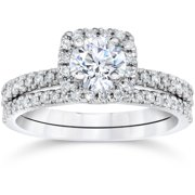 58ct cushion halo real diamond engagement wedding ring set white gold - Wedding Rings From Walmart