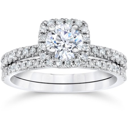 58ct cushion halo real diamond engagement wedding ring set white gold walmartcom - Real Diamond Wedding Rings