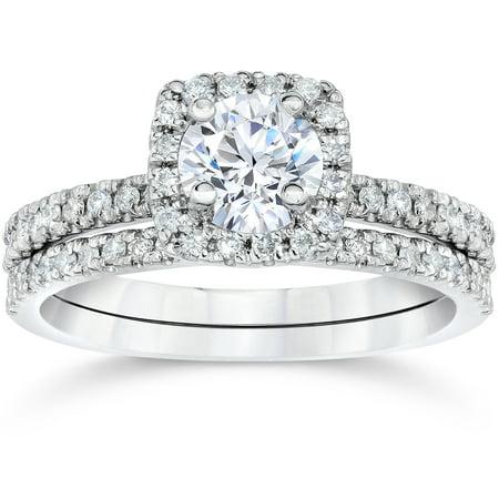 58ct cushion halo real diamond engagement wedding ring set white gold walmartcom - Walmart Wedding Rings Sets