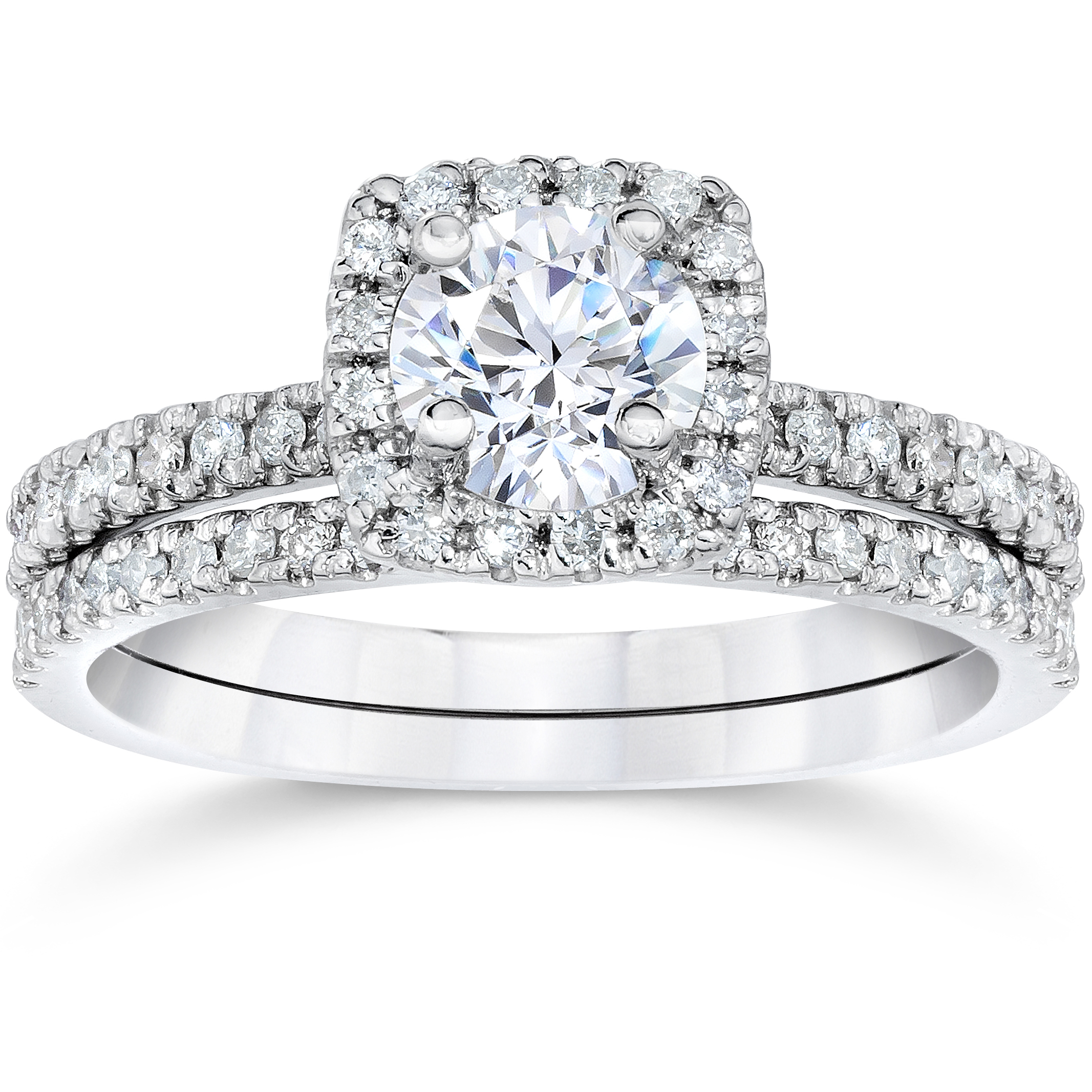 Beau 5/8Ct Cushion Halo Real Diamond Engagement Wedding Ring Set White Gold