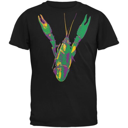 Mardi Gras Crawfish Black Adult T-Shirt
