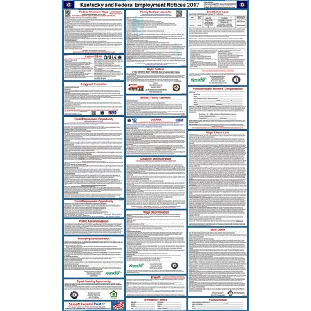 2017 Kentucky State And Federal Labor Law Poster  Laminated