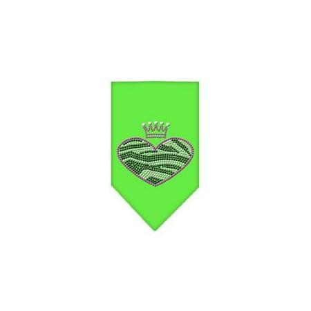 Zebra Heart Rhinestone Bandana Lime Green Large Dark Green Rhinestone