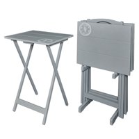 Riverbay Furniture 5 Piece Compass Tray Table Set in Gray