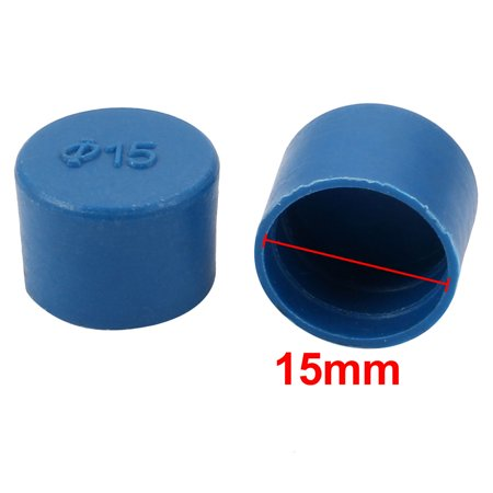 100pcs 15mm Inner Dia PE Plastic End Cap Bolt Thread Protector Tube Cover Blue - image 1 of 2