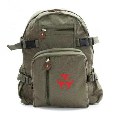 Biohazard Symbol Canvas Military Backpack Travel School Book Bag