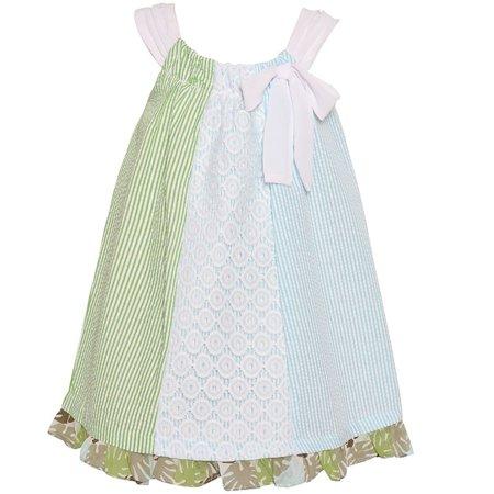 Bonnie Jean Little Girls Blue Green Stripe Lace Detail Bow Casual Dress - Green Girl Dresses