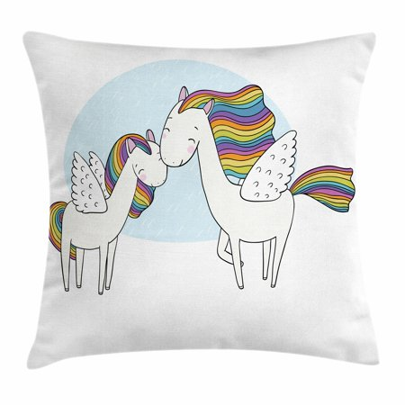 Unicorn Throw Pillow Cushion Cover, Pegasus Horses with Manes in Rainbow Colors and Wings Sweet Mythological Kids Tale, Decorative Square Accent Pillow Case, 18 X 18 Inches, Multicolor, by Ambesonne (Kid Wings)